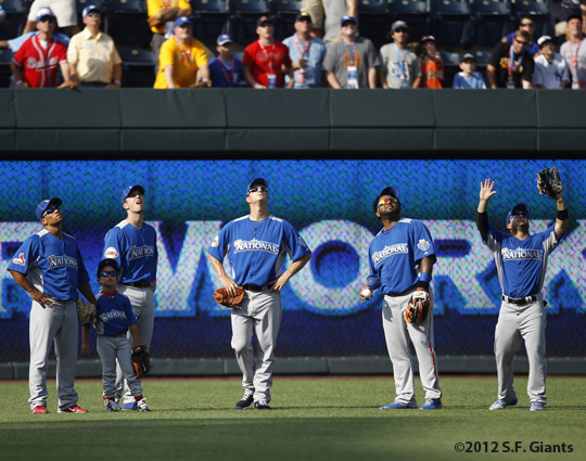 sf giants, san francisco giants, photo, 2012, all star game, july 9, work out, Rafael Furcal, Buster Posey, Matt Cain, Pablo Sandoval, Jose Altuve
