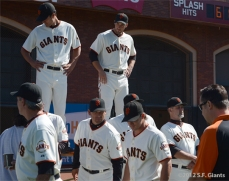 sf giants, san francisco giants, photo, 2012, javier lopez, greorge kontos, ron wotus, mark gardner, ryan theriot, bill hayes