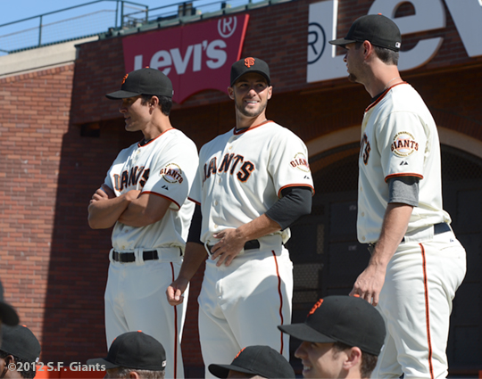 sf giants, san francisco giants, photo, 2012, javier lopez, george kontos, brandon belt