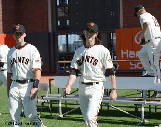 sf giants, san francisco giants, photo, 2012, tim lincecum, buster posey, matt cain
