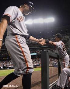 sf giants, san francisco giants, photo, 2012, hunter pence, hector sanchez