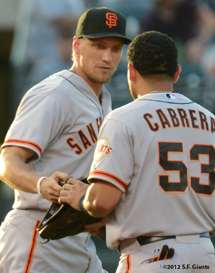 sf giants, san francisco giants, photo, 2012, hunter pence, melky cabrera