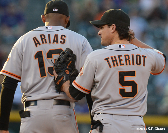 sf giants, san francisco giants, photo, 2012, joaquin arias, ryan theriot