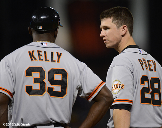 sf giants, san francisco giants, photo, 2012, roberto kelly, buster posey