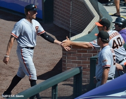 madison bumgarner, hunter pence, bruce bochy, sf giants, photo, san francisco giants, 2012