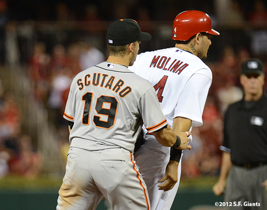 sf giants, san francisco giants, photo, 2012, yadier molina, marco scutaro