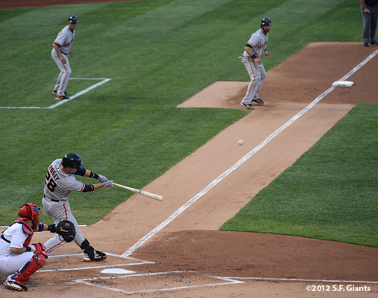 sf giants, san francisco giants, photo, 2012, buster posey, angel pagan, tim flannery
