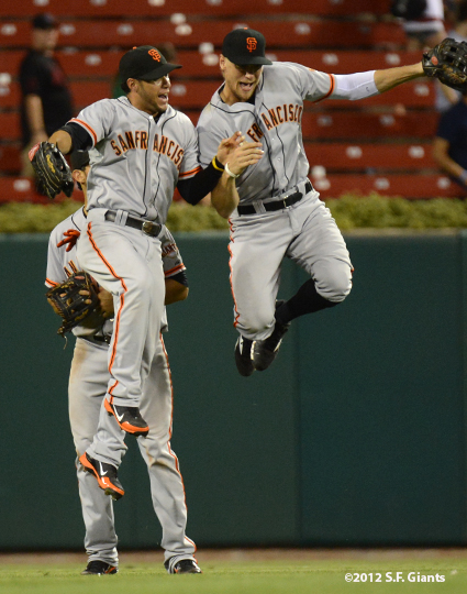 sf giants, san francisco giants, photo, 2012, angel pagan, gregor blanco, hunter pence