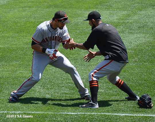 SF GIANTS, SAN francisco giants, photo, 2012, angel pagan, sergio romo