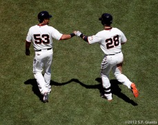 San Francisco Giants, S.F. Giants, photo, 2012, Melky Cabrera, Buster Posey