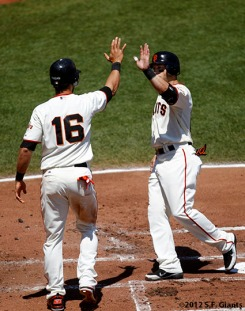 San Francisco Giants, S.F. Giants, photo, 2012, ANGEL PAGAN, Marco Scutaro