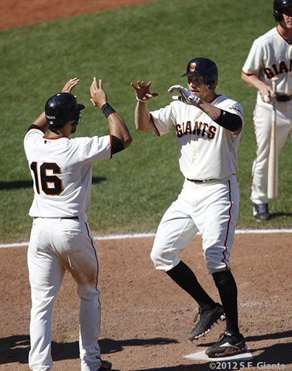 San Francisco Giants, S.F. Giants, photo, 2012, Angel Pagan, Hunter Pence
