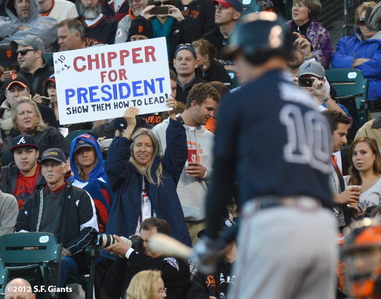 sf giants, san francisco giants, photo, 2012, chipper jones, fans