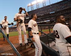 sf giants, san francisco giants, photo, 2012, hunter pence, angel pagan, gregor blanco, pablo sandoval