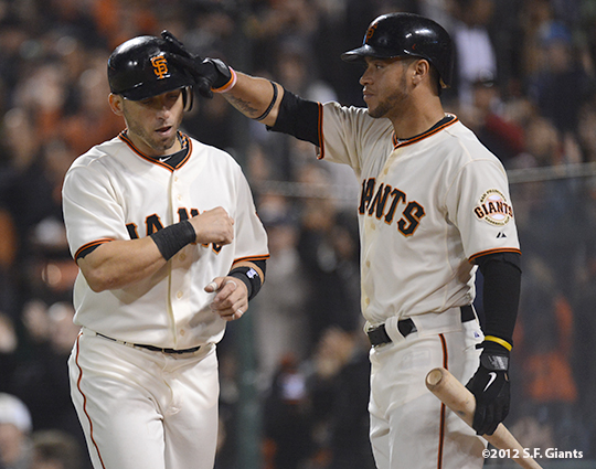 sf giants, san francisco giants, photo, 2012, marco scutaro, gregor blanco