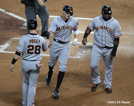 sf giants, san francisco giants, photo, 2012, buster posey, hunter pence, pablo sandoval