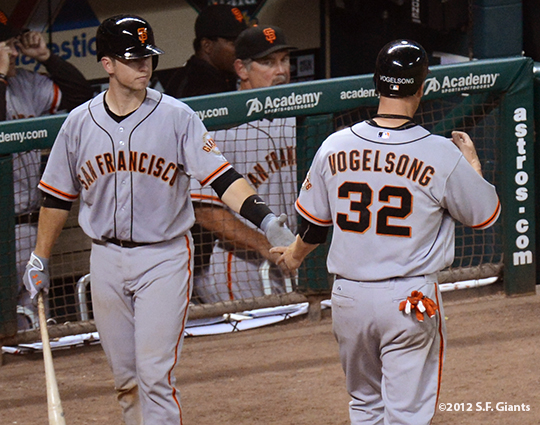 sf giants, san francisco giants, photo, 2012, buster posey, ryan vogelsong