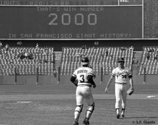Greg Minton received the save in the SF Giants 2,000 win