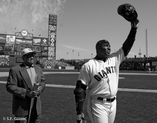 sf giants, san francisco giants, 2012, photo, view level timeline, barry bonds, 660, willie mays