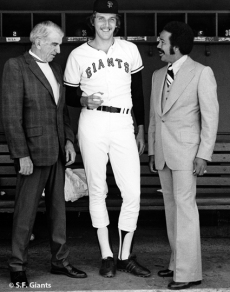 The Giants living No-Nos (up to 1975): Carl Hubbell, Ed Halicki & Juan Marichal