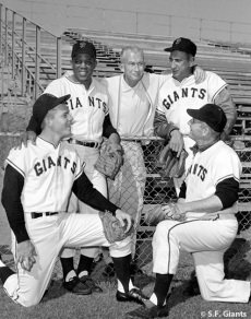 sf giants, san francisco giants, photo, 2012, 1962, view level timeline, at&T park, bill rigney, willie mays, jackie brandt, jack sanford, hank sauer