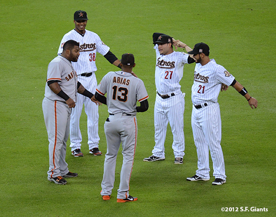 sf giants, san francisco giants, photo, 2012, pablo sandoval, joaaquin arias, Fernando Martinez , Jose Altuve, Jimmy Paredes,
