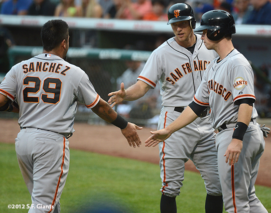 sf giants, san francisco giants, photo, 2012, wrigley field, hector sanchez, hunter pence, buster posey