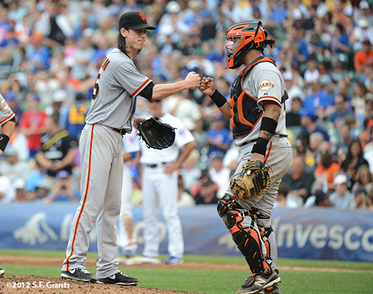 sf giants, san francisco giants, photo, 2012, wrigley field, tim lincecum, hector sanchez