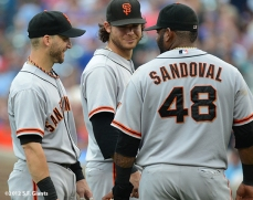 sf giants, san francisco giants, photo, 2012, wrigley field, marco scutaro, brandon crawford, pable sandoval