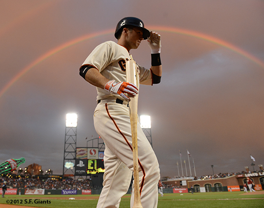 sf giants, san francisco giants, photo, 2012, buster posey, rainbow