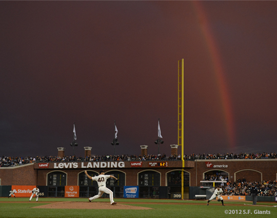 sf giants, san francisco giants, photo, 2012, rainbow, madison bumgarner