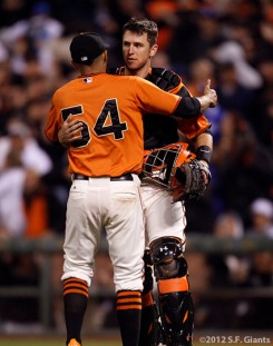 San Francisco Giants, S.F. Giants, photo, 2012, Sergio Romo, Buster Posey