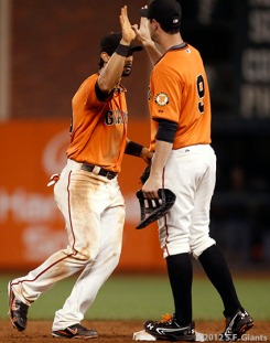San Francisco Giants, S.F. Giants, photo, 2012, Angel Pagan, Brandon Belt