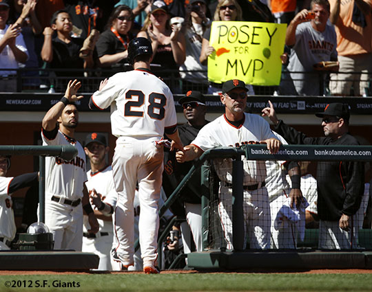 sf giants, san franciso giants, photo, 2012, buster posey, bruce bochy, fans