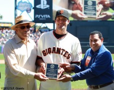 Javier Lopez with the Jose Uribe Sportsmanship Award