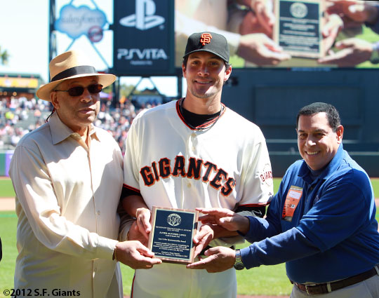 San Francisco Giants, S.F. Giants, photo, 2012, Orlando Cepeda, Javier Lopez