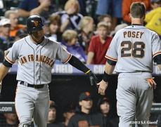 sf giants, san francisco giants, 2012, photo, gregor blanco, buster posey