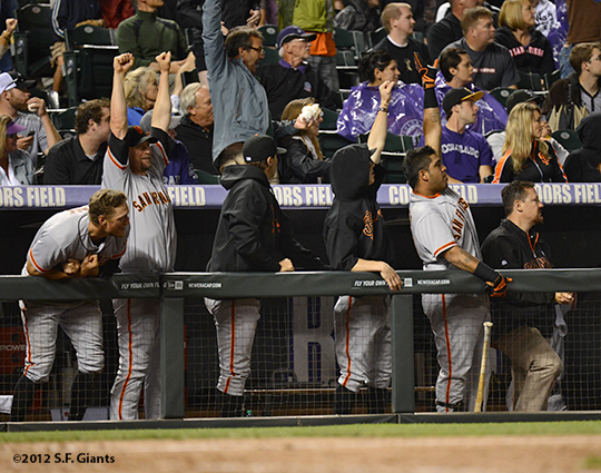 sf giants, san francisco giants, photo, 2012, hunter pence, aubrey huff, barry zito, tim lincecum, hector sanchez, dave groeschne