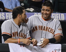 sf giants, san francisco giants, photo, 2012, gregor blanco, hector sanchez