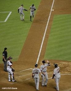 sf giants, san francisco giants, photo, 2012, September 14, chase field, grand slam, hunter pence, tim flannery, buster posey, marco scutaro, pablo sandoval