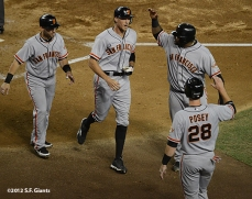 sf giants, san francisco giants, photo, 2012, September 14, chase field, grand slam, hunter pence, marco scutaro, pablo sandoval, buster posey