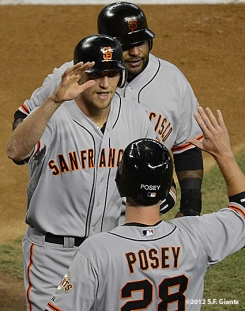 sf giants, san francisco giants, photo, 2012, hunter pence, buster posey, pablo sandoval