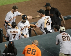 sf giants, san francisco giants, photo, 2012, September 14, chase field, grand slam, hunter pence, fans, buster posey, gregor blanco, marco scutaro, bruce bochy, bam bam meulens