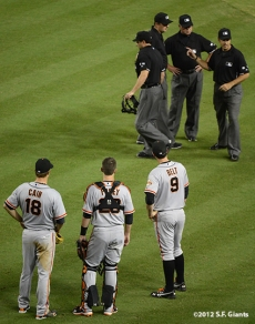 Matt Cain, Buster Posey, Brandon Belt & Umpires