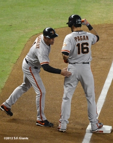 sf giants, san francisco giants, september 15, 2012, photo, angel pagan, triples leader SF-era, tim flannery