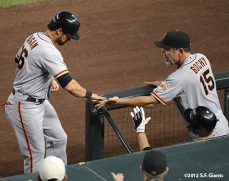 sf giants, san francisco giants, september 15, 2012, photo, angel pagan, triples leader SF-era, bruce bochy