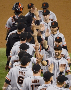 sf giants, san francisco giants, photo, 2012, team, hector sanchez, pablo sandoval, joaquin arias, buster posey, brandon crawford, marco scutaro, angel pagan, brett pill, aubrey huff, emmanuel burriss, hunter pence
