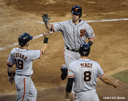 sf giants, san francisco giants, photo, 2012, spetember 15, buster posey, hunter pence, marco scutaro