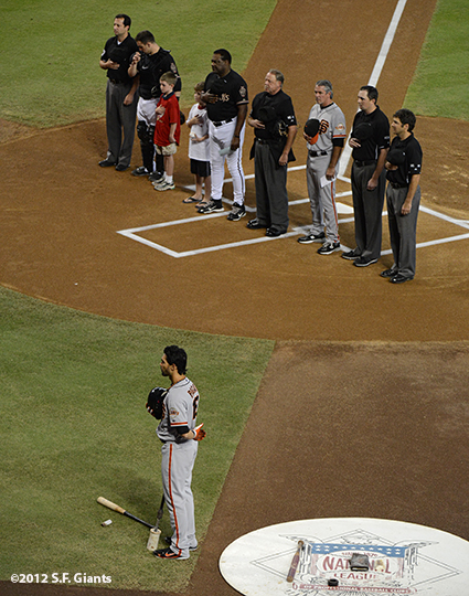 sf giants, san francisco giants, photo, 2012, september 16, angel pagan, ron wotus, umpires