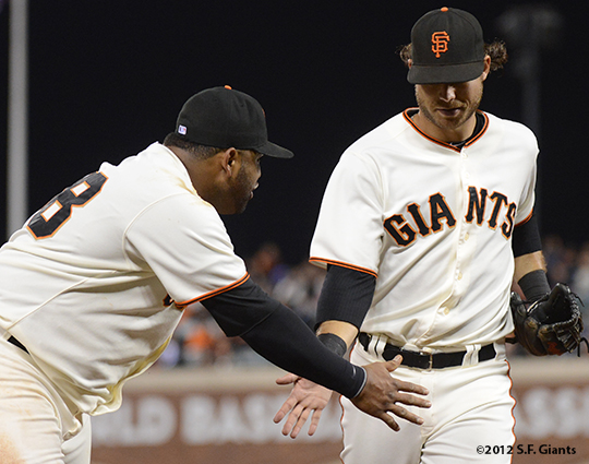 sf giants, san francisco giants, photo, september 18, 2012, pablo sandoval, brandon crawford